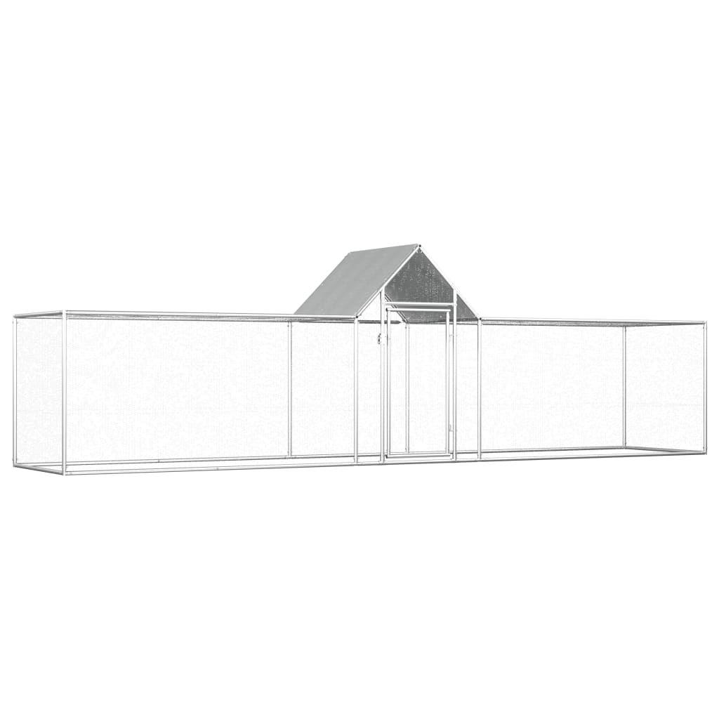 vidaXL Chicken Coop 5x1x1.5 m Galvanized Steel