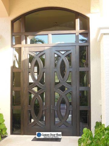 Dark Stain Front Doors Custom Double Front Doors With Circle Design