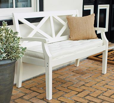 Hampstead Porch Bench Cushion White Potterybarn Love The Style Of This Bench Home Decor Furniture Porch Bench Outdoor Patio Furniture Sets