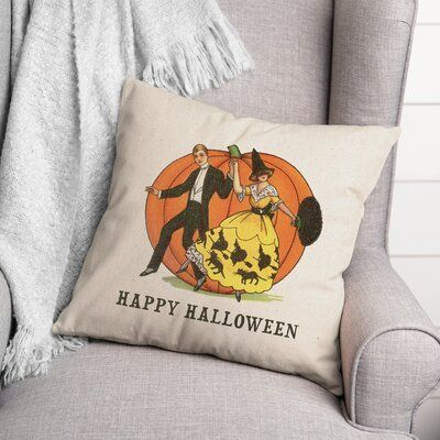 The Holiday Aisle® Dunstall Happy Halloween Linen Couple Throw Pillow