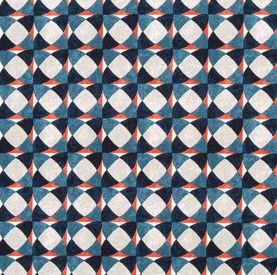 Navy Orange Geometric Upholstery Drapery Fabric - Modern Orange Blue ...