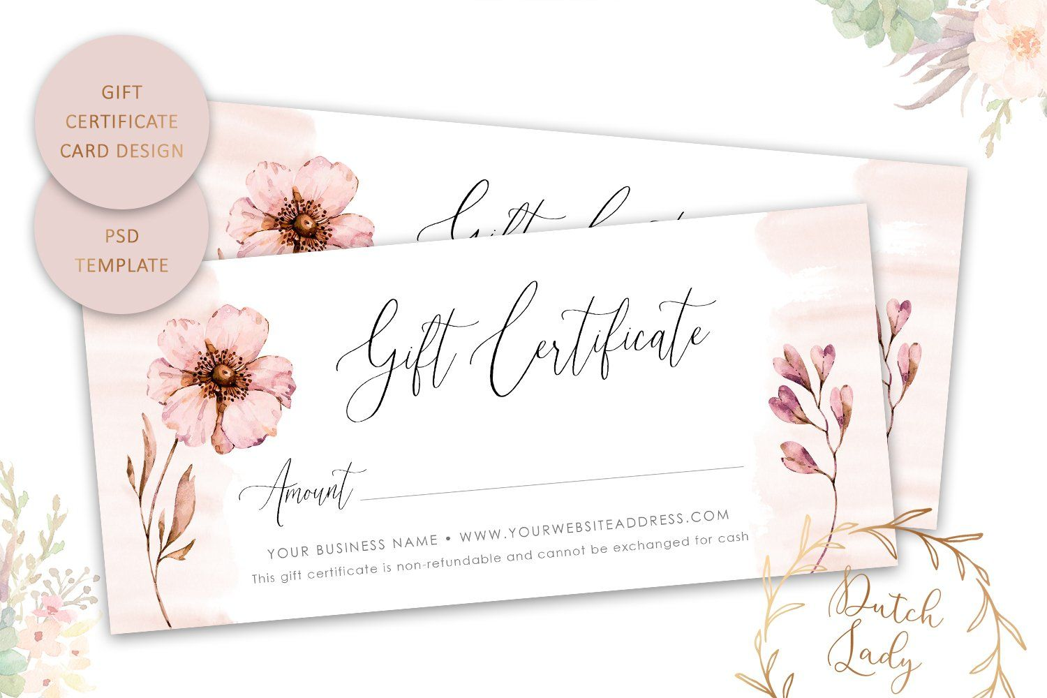 Gift Certificate Card Template Single Sided 1 758235 Card And Invites Design Bundles In 2021 Gift Certificate Template Gift Card Design Rack Card Templates