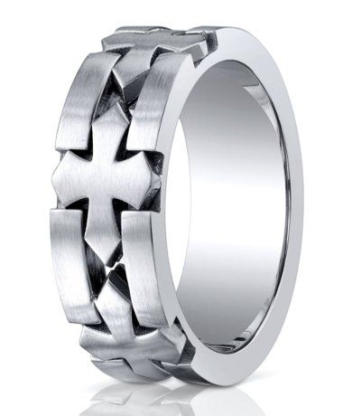 designer cobalt celtic cross designer wedding ring with satin finish looking at the bold character - Cross Wedding Rings