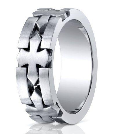 Designer Cobalt Celtic Cross Wedding Ring With Satin Finish