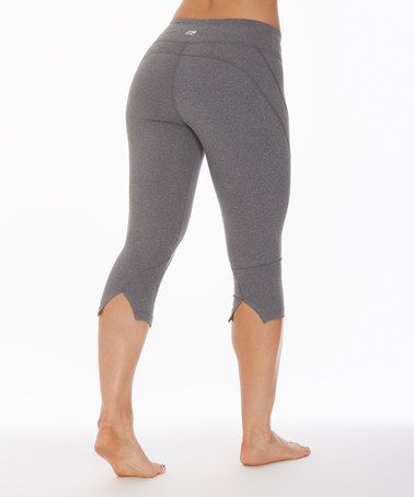 0efa6c318704d Loving this Heather Charcoal Ava Performance Slit-Back Capri Leggings on # zulily! #zulilyfinds