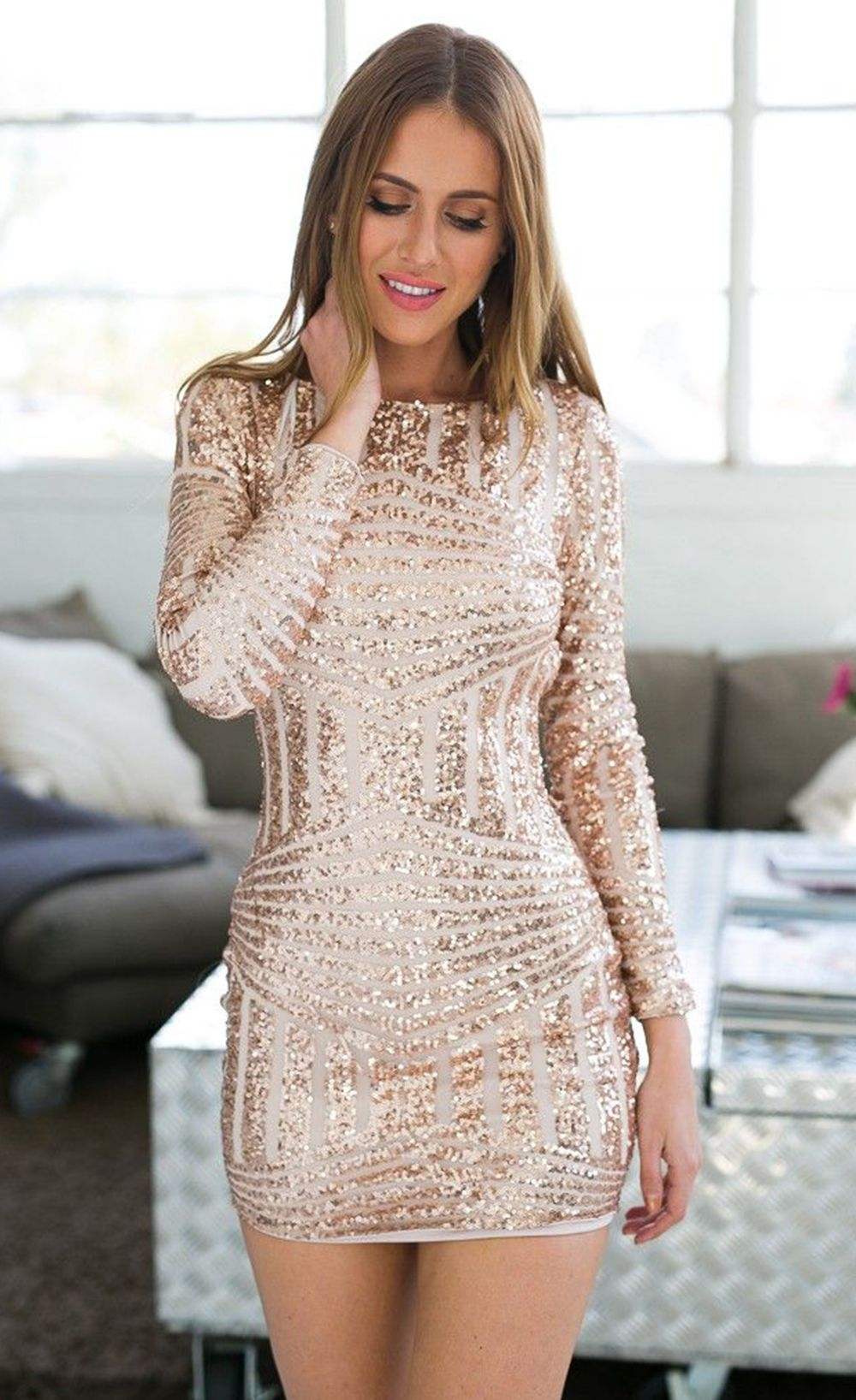 long sleeves cut out bare back sequin dress clothes i like