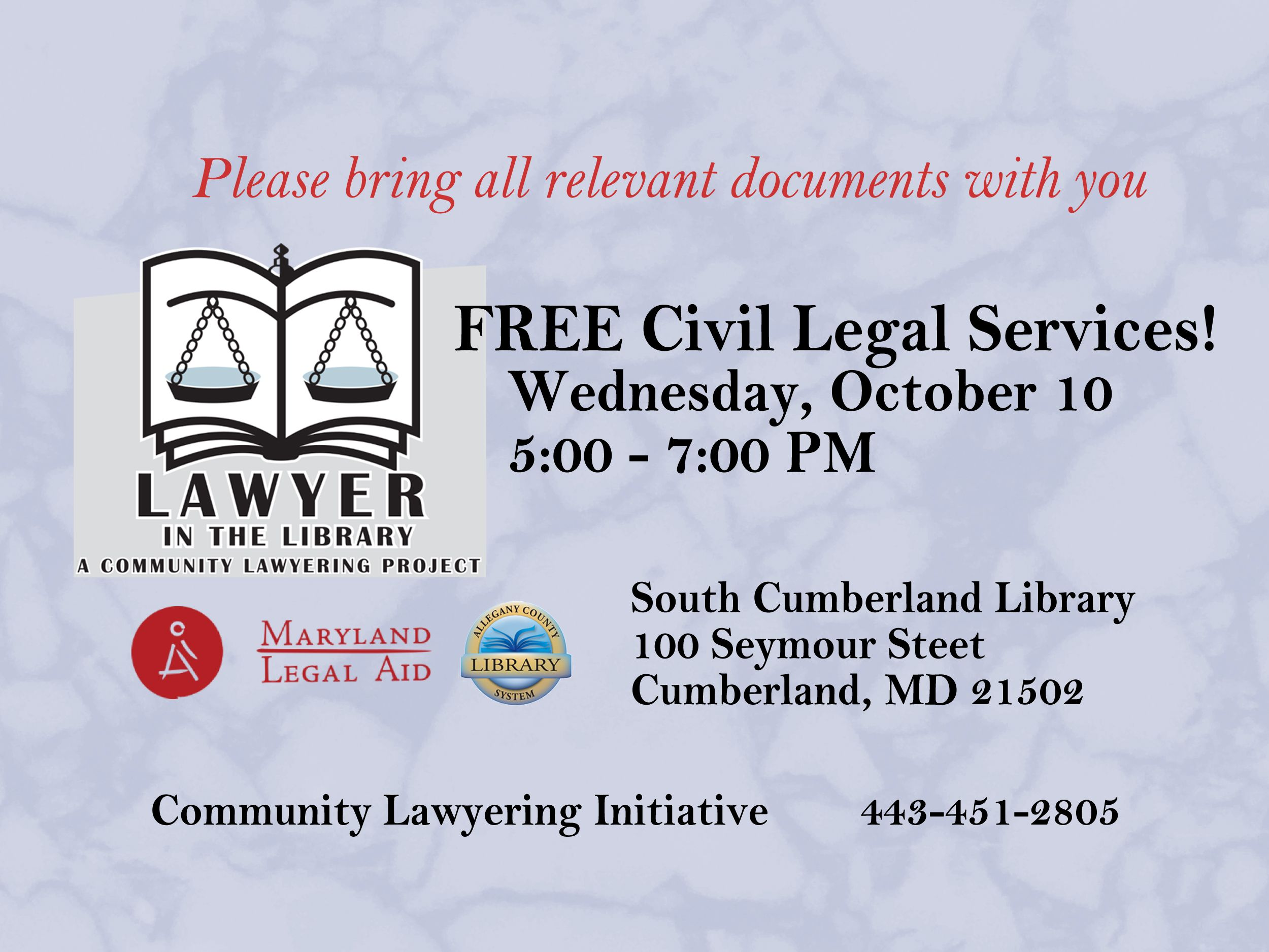This project provides FREE civil legal services in your