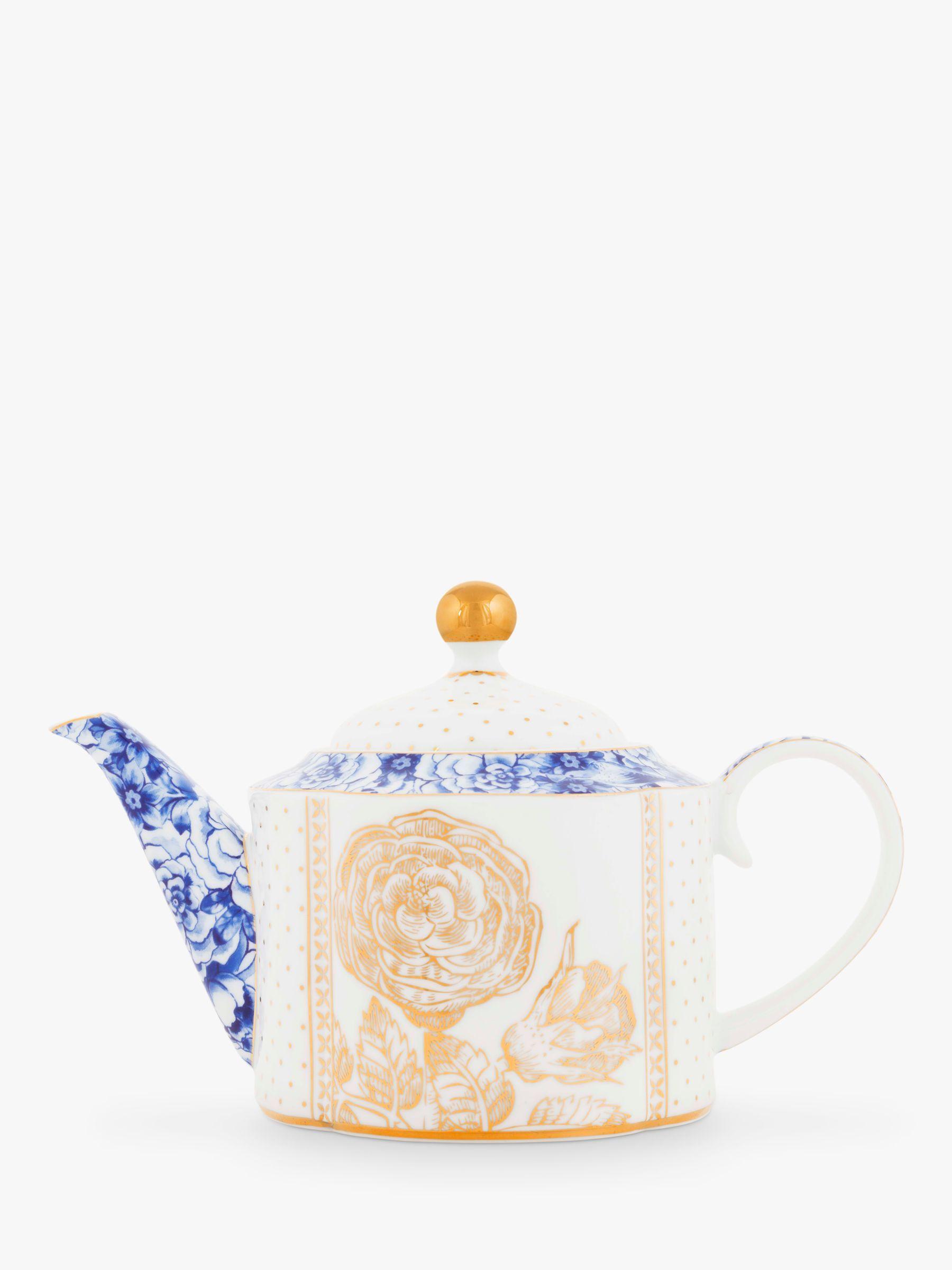 PiP Studio Royal White 4 Cup Teapot, White/Multi, 900ml