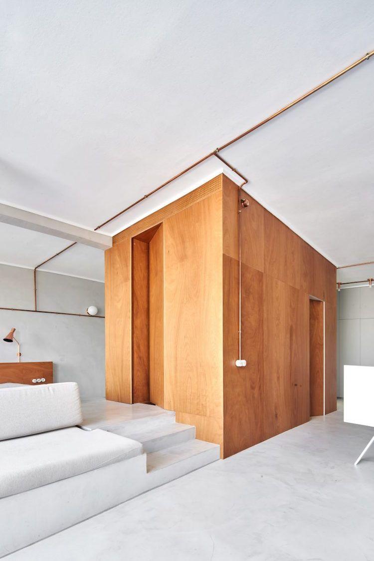 #micro Appartement Marina Mobilier Bois Sur Mesure #interieur Plan Ouvert