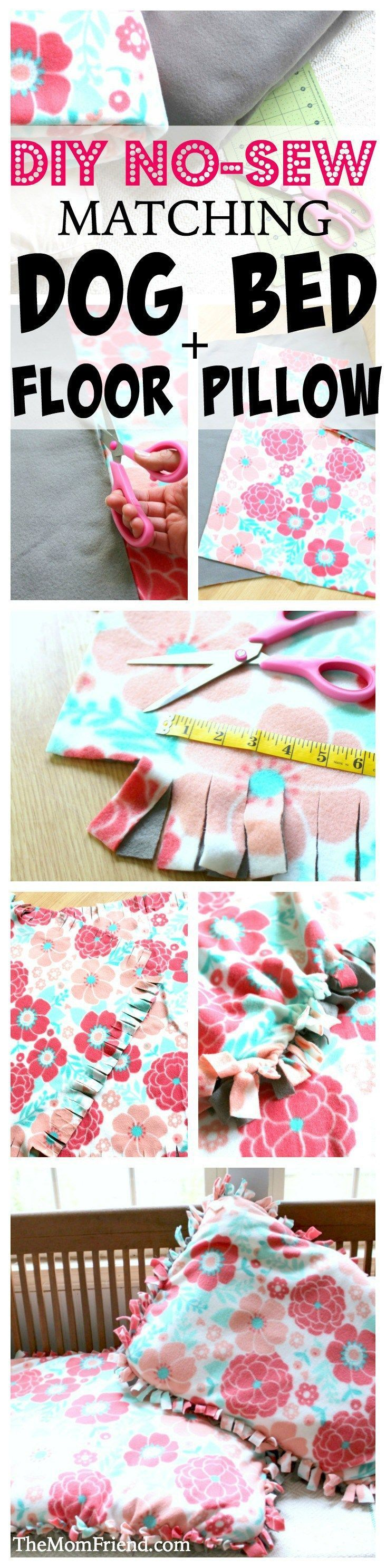 Easy DIY no-sew dog bed and matching floor pillow, perfect for babies, toddlers