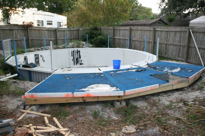 Round pool deck plans ground pool inground above for Intex pool billig