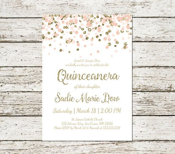 graphic relating to Printable Quinceanera Invitations named Quinceanera Invitation Blush Red and Gold Glitter Classy