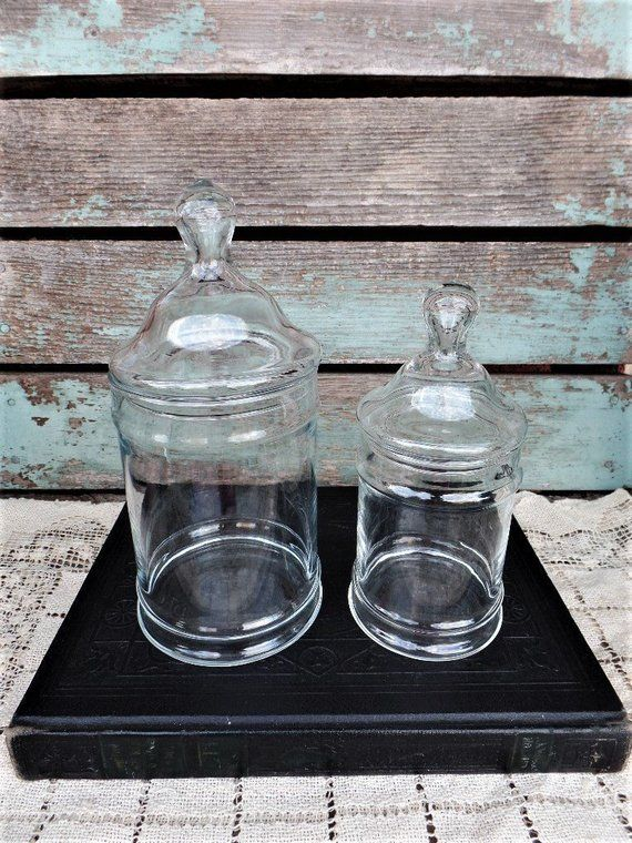 Vintage Glass Jar Set Clear Glass Apothecary Canister Knob Lid Mid