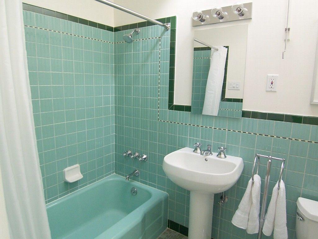 Bath Tub Shower Combination With Vintage Green Tile Retro