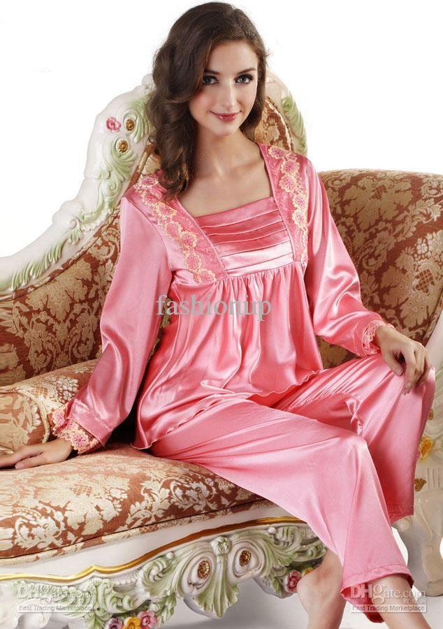 Sexy Women Long-Sleeved Silk Satin Pajama Set Lady Robe Sets ...