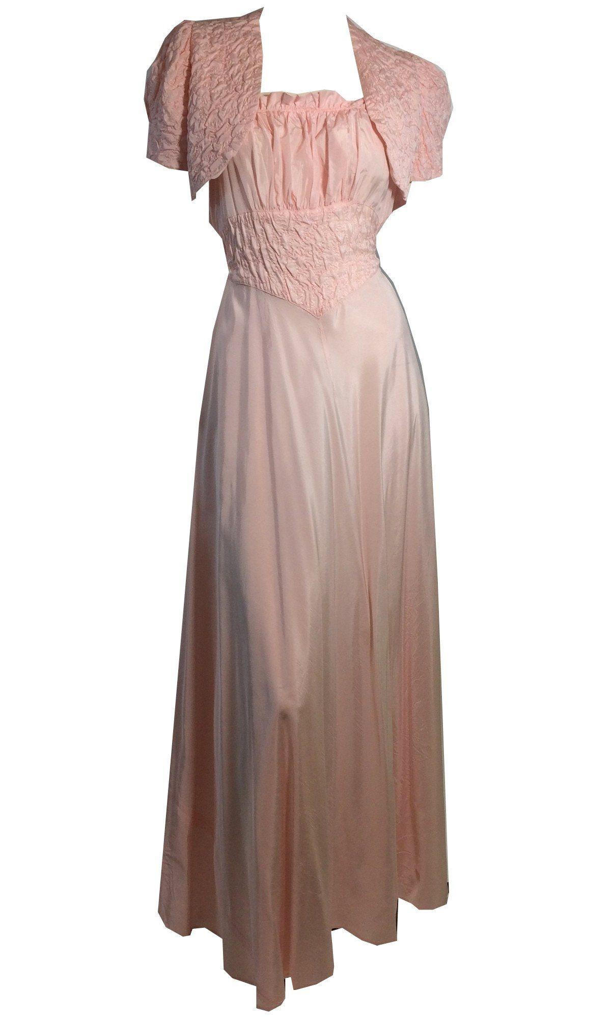 Darling baby pink taffeta evening gown w smocked jacket circa s