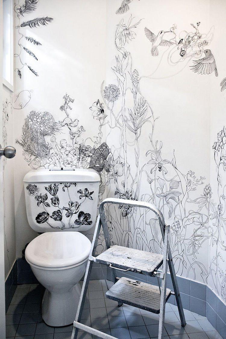 Bathroom interior wall una diseñadora convierte su cuarto de baño en una obra de arte