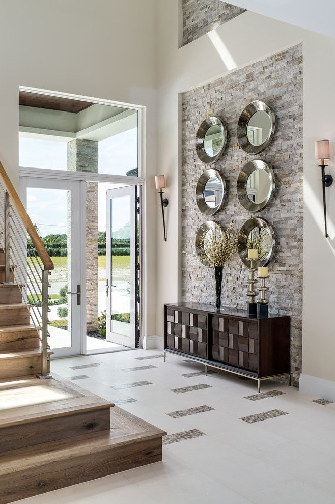 Stone Accent Wall Entry Transitional Amazing Ideas With Round