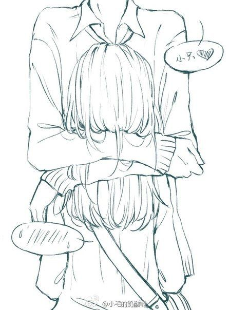 ✮ ANIME ART ✮ anime couple. . .hug. . .speech bubbles. . .emoticon. . .embarrassed. . .lineart. . .drawing. . .doodle. . .cute. . .kawaii