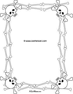 Printable Jolly Roger Border Skulls and Crossed Bones