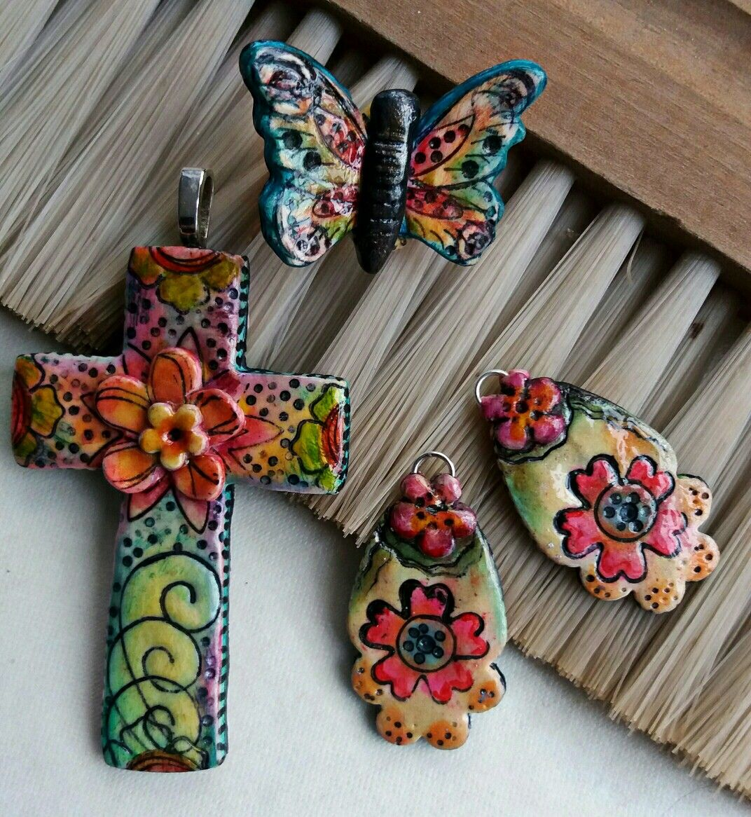 Polymer clay pendant, earrings and ring by Linda Carmichael NZ