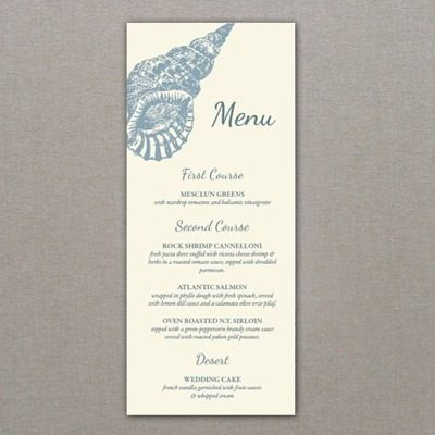 Menu Template \u2013 Sea Shell Design Beach  Destination Wedding Ideas - event menu template
