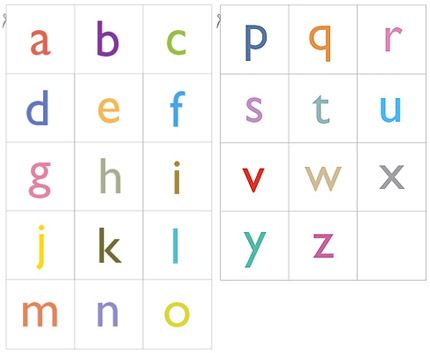 Good source for printable alphabet cards, sized 2 x 2 inches - flash card template