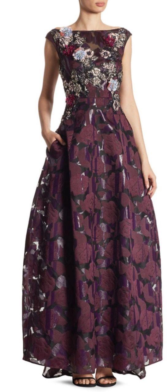 Talbot Runhof Silk-Blend Rose Print Gown | Stuff I like | Pinterest