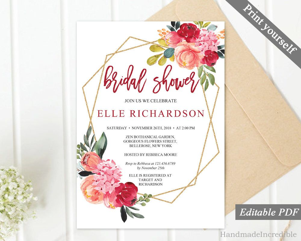 Burgundy Floral Bridal Shower Invitation Template Printable Shower
