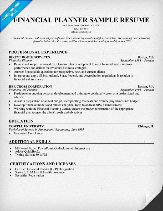 financial planner resume samples across all industries pin letter - resume for financial advisor