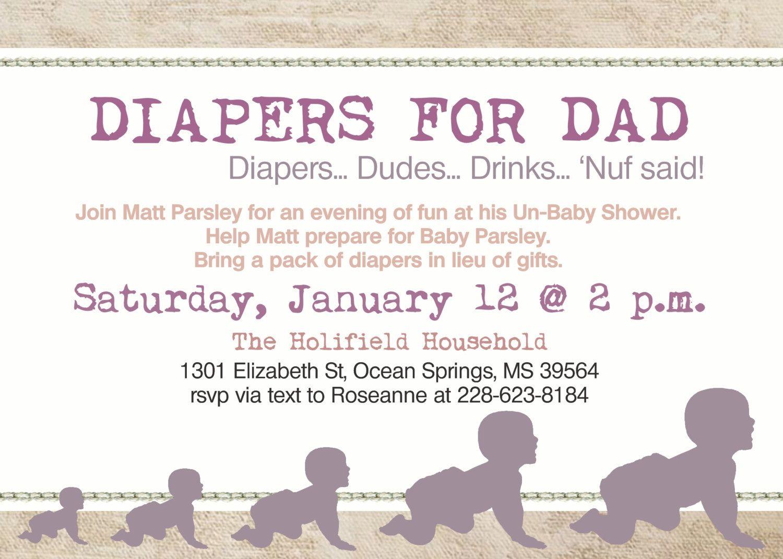 Daddy Diaper Baby Girl Shower Dad Shower Invitation 1000 via