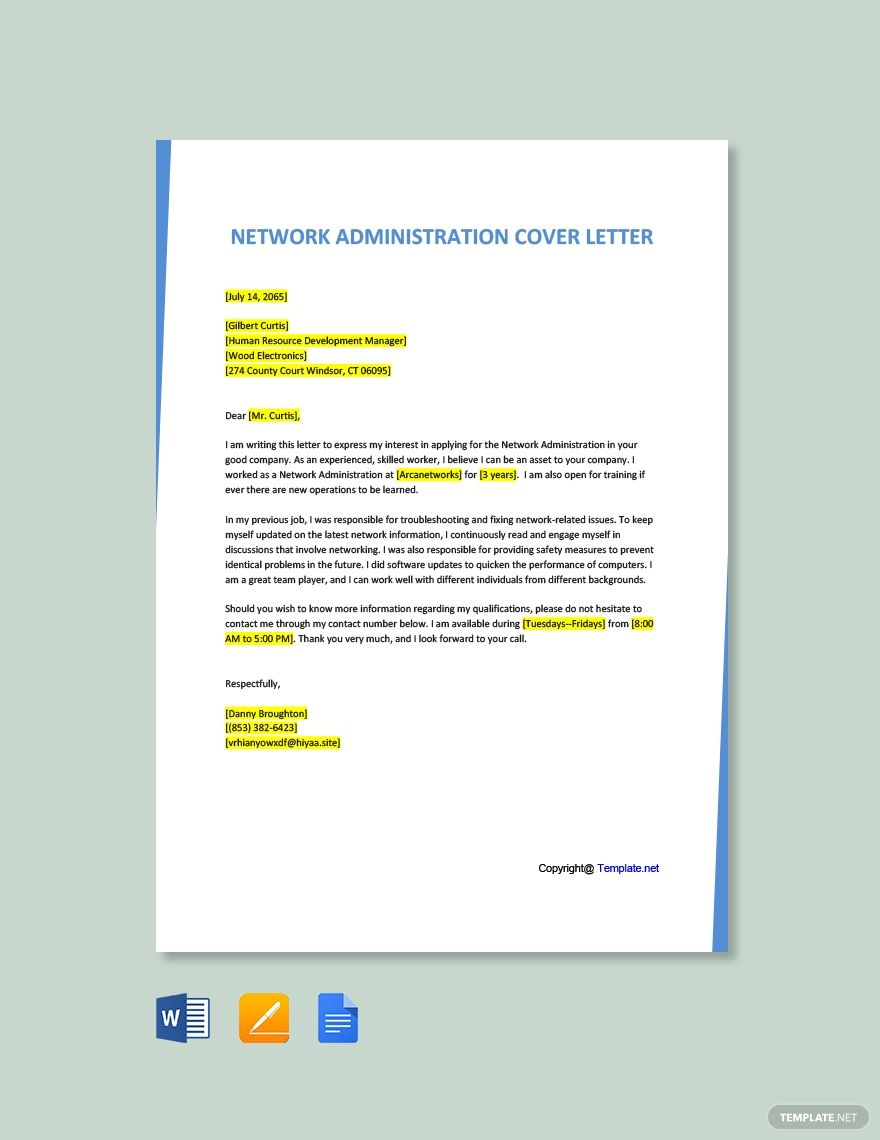 FREE Network Administration Cover Letter Word Google
