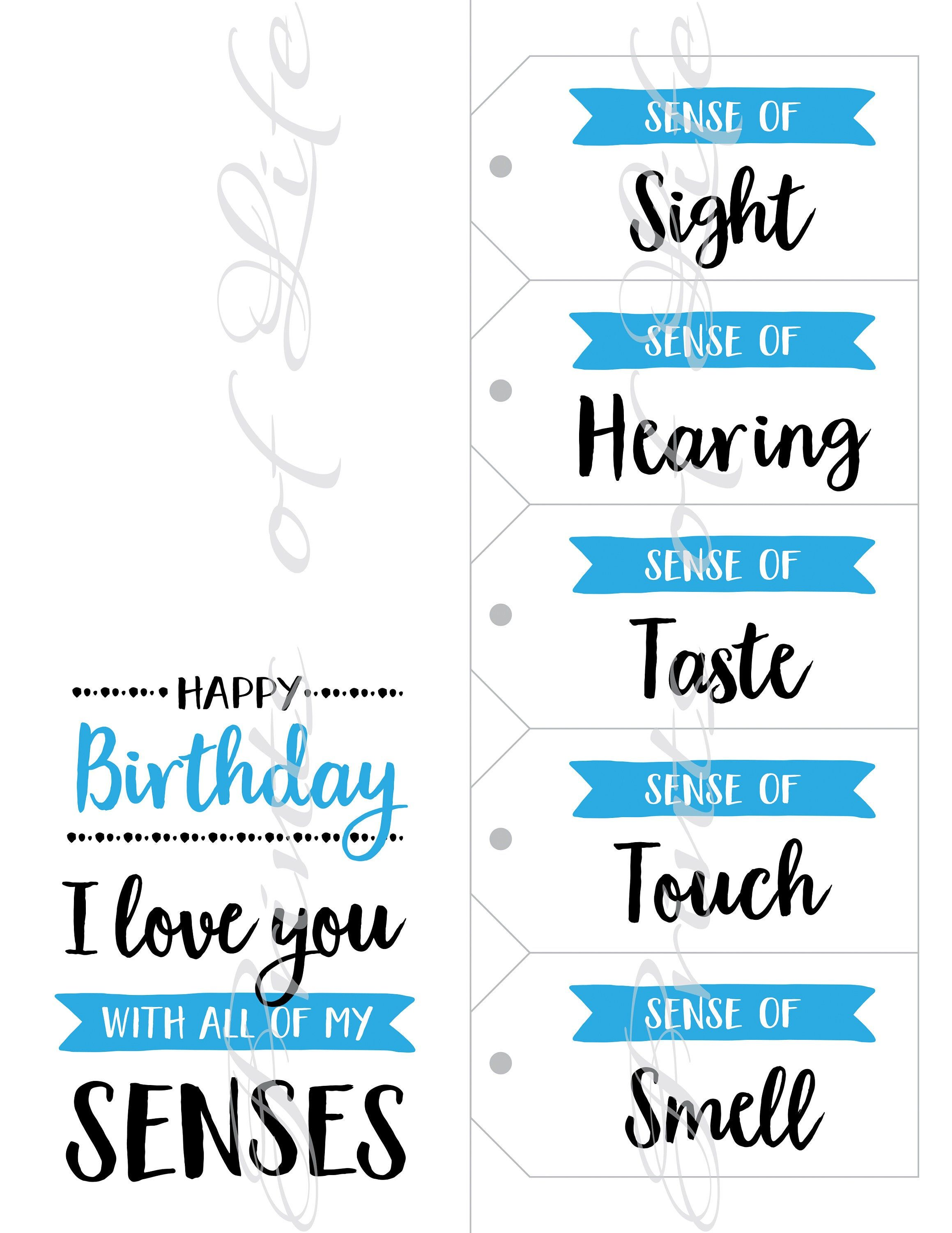 5 Senses T Tags Amp Birthday Card Instant Download