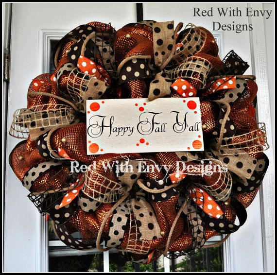 Items similar to Fall Wreath, Deco Mesh Wreath, Deco Mesh, Burlap Wreath, Happy Fall, Happy Fall Y'all on Etsy