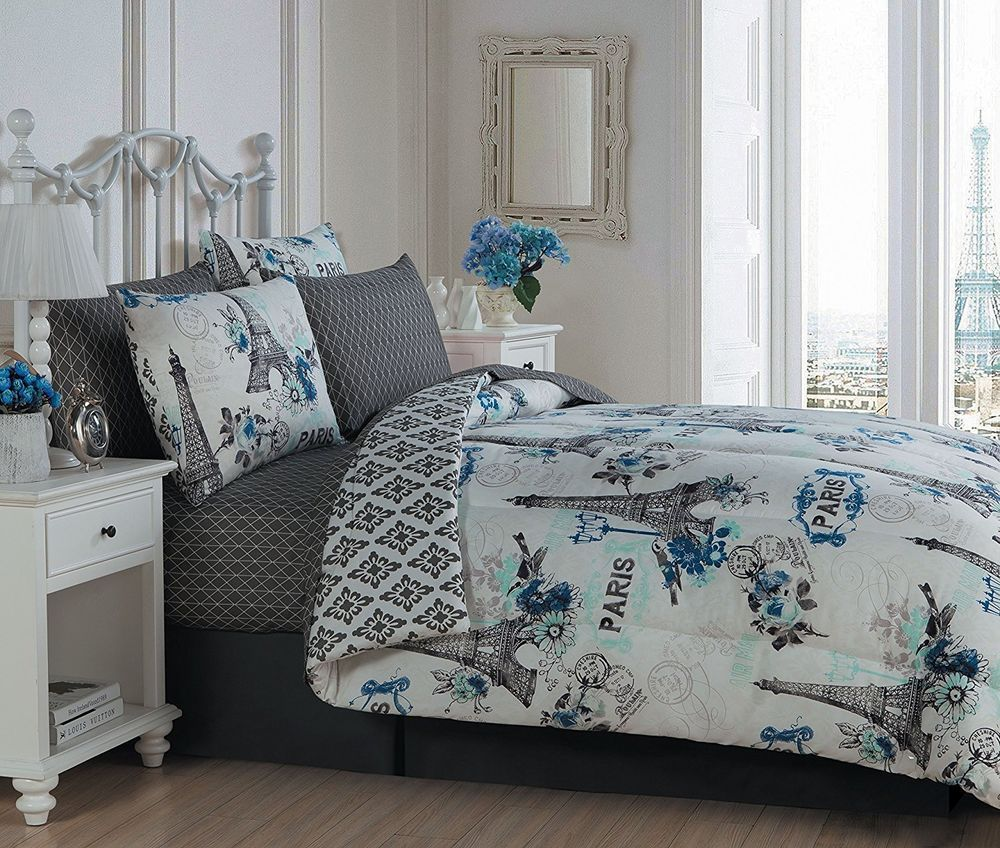 Paris Eiffel Tower In Love Blue Coral Comforter Sheets Bedskirt