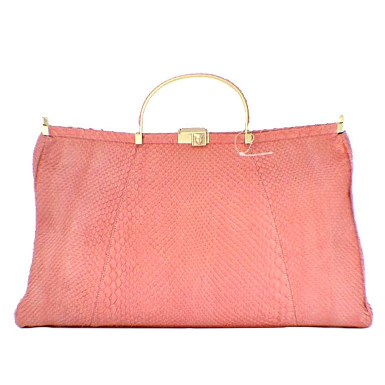 Barry Kieselstein-cord Pink Snakeskin Handbag   From a collection of rare vintage top handle bags at https://www.1stdibs.com/fashion/handbags-purses-bags/top-handle-bags/