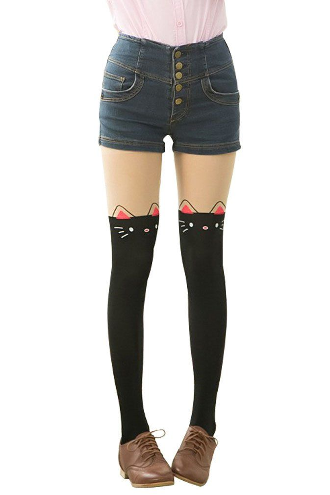 f93d28357 Amour - Kitten Print Knee High Length Socks CAT Tail Tattoo Tights  Pantyhose Stockings (A-Hello Kitty)