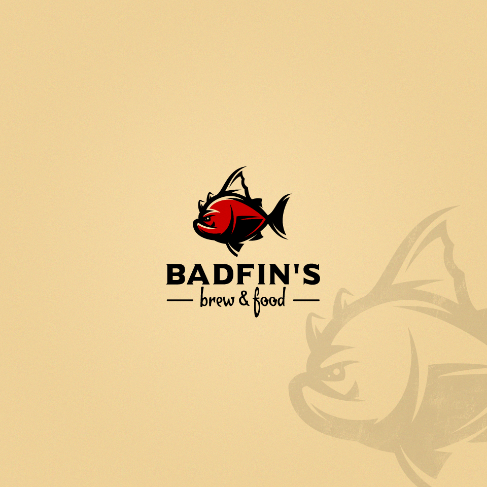 Seafood restaurant logo by designer Rom@n for badfinsbrew showing a red illustrated fish. #logo #design