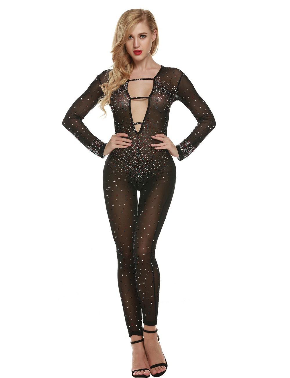 5cd4970d8551 Find More Jumpsuits Information about Hot Sexy Sheer Plunge V neck Bodysuit  Women Rhinestone Jumpsuit Club Party Evening Gown Vestidos Naughty Costumes  ...