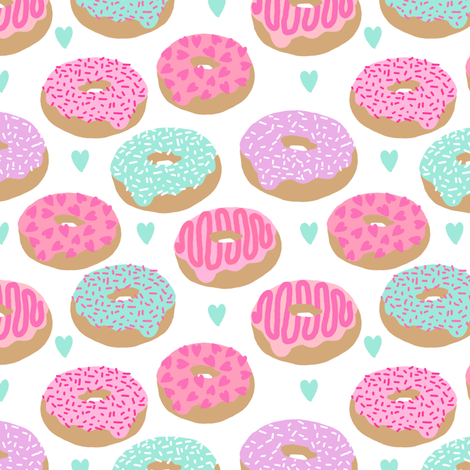 donuts valentines day love design cute valentines love fabric donuts food hearts pastel pastels fabric by