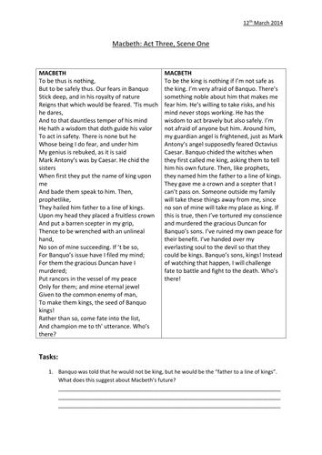 Macbeth' Act 3, Scene 1 Worksheets | Teaching, Acting