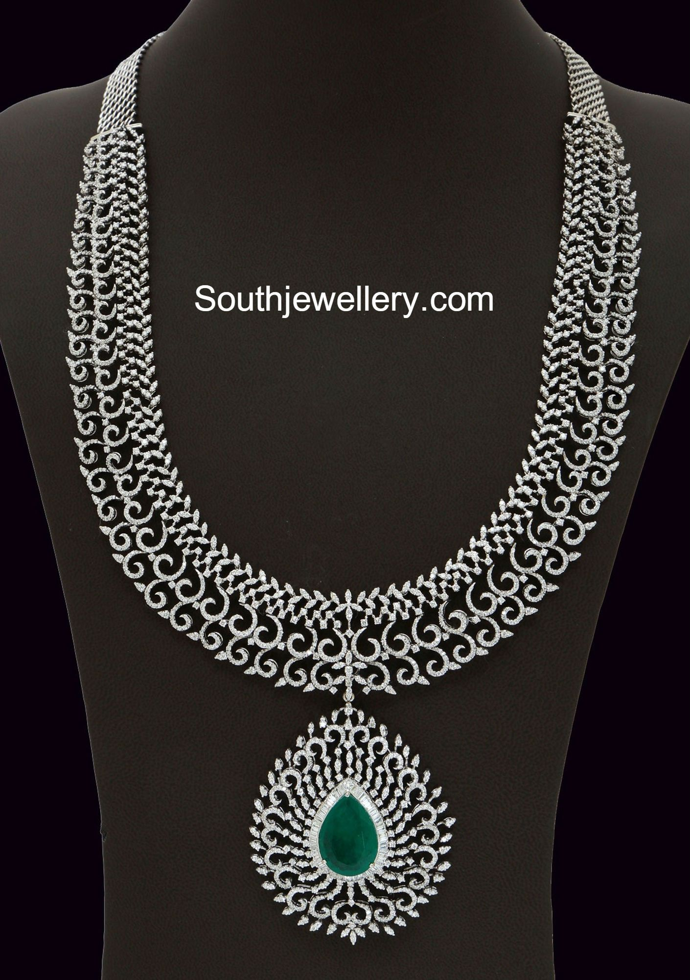 gold necklace long emerald and haram diamonds watch malabar diamond
