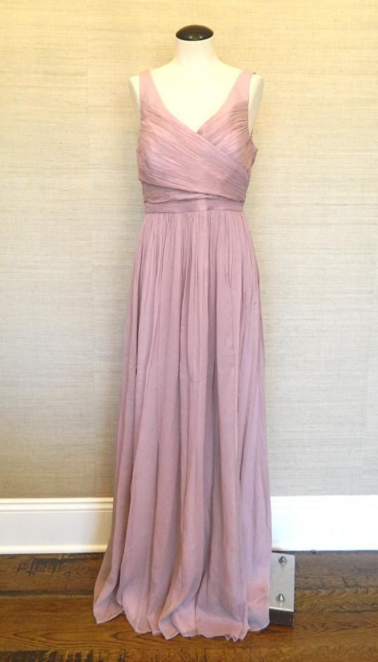 JCrew $365 Silk Chiffon Heidi Gown 2 dusty thistle long dress ...