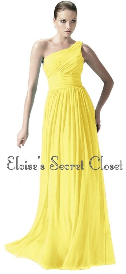 Paige Yellow Lemon One Shoulder Chiffon Long Maxi Bridesmaid Dress Www Eloises Secret Closet Co Uk