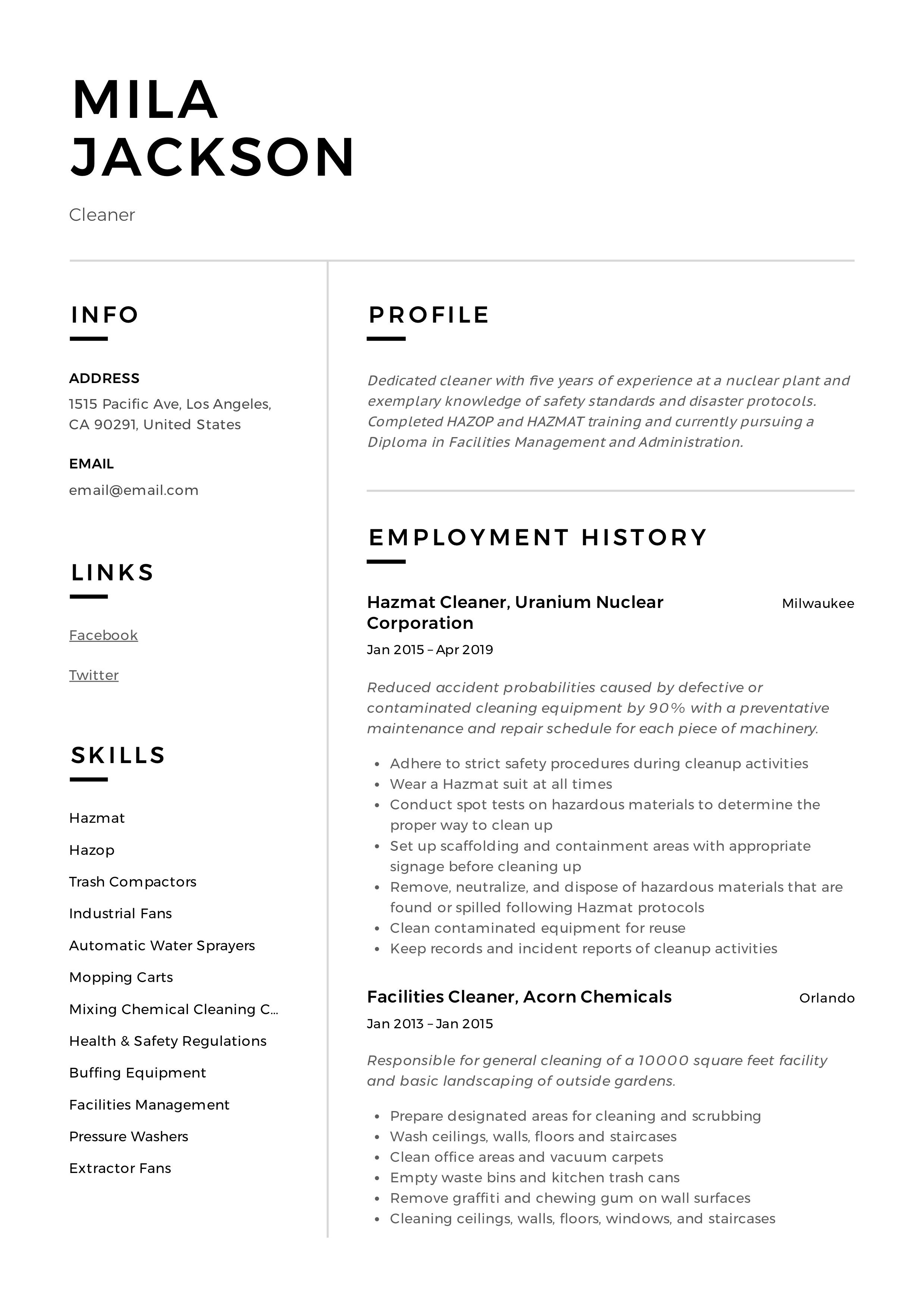 Cleaner Resume Sample Professional Resume Examples Resume Examples Job Resume Template