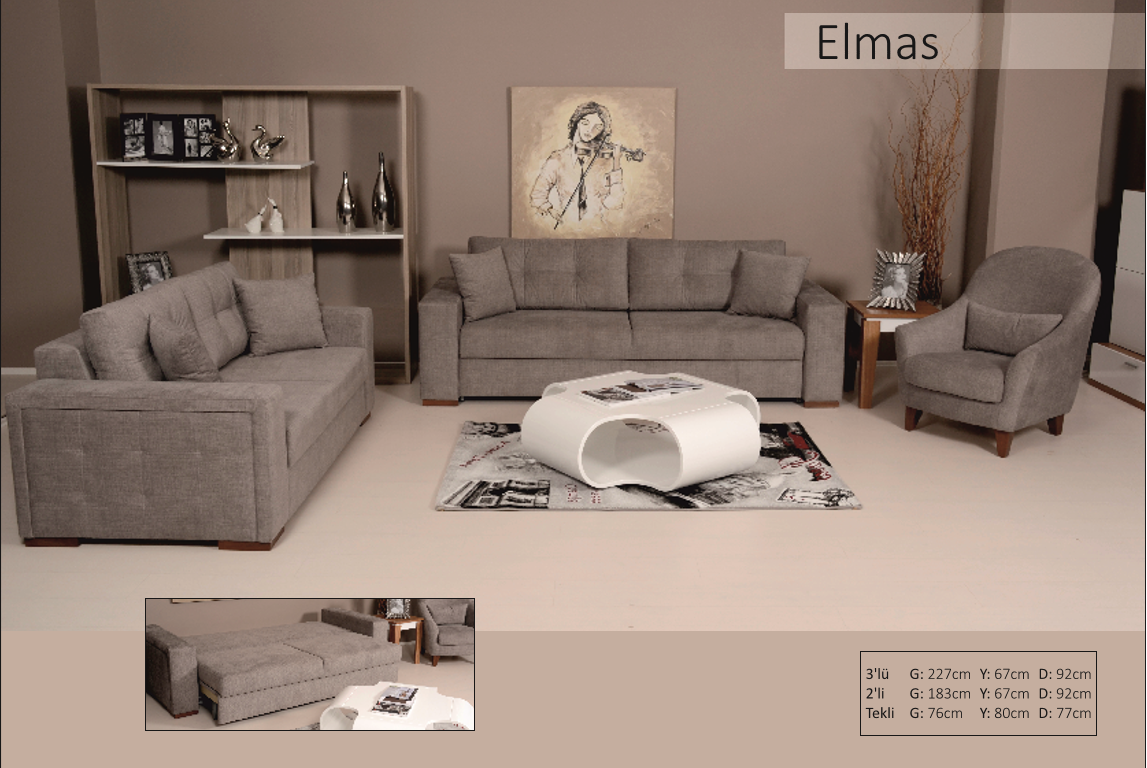Elmas 3 Lu Yatakli Koltuk Takimi Sectional Couch Home Decor Furniture