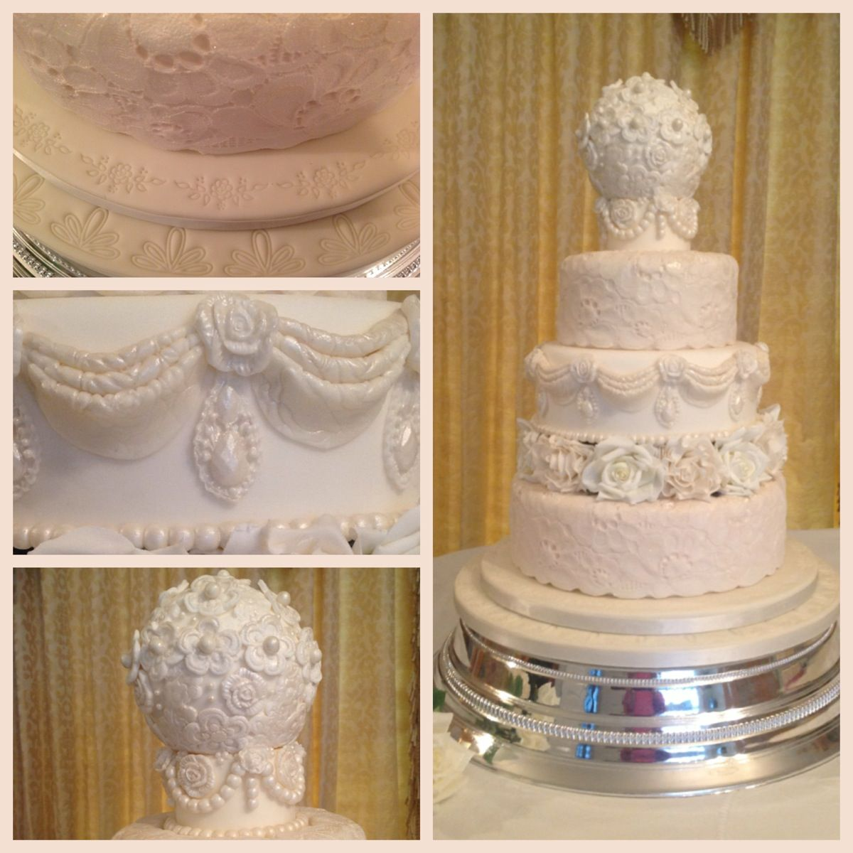 Vintage wedding cake lace pearls and swags