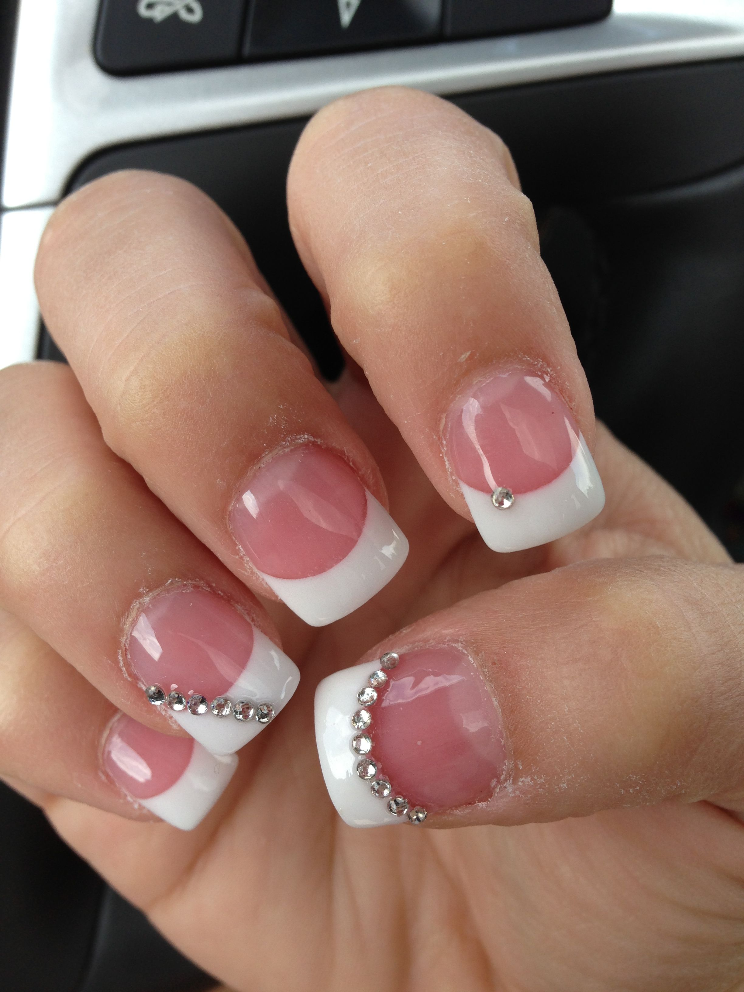 Simple French Manicure With Diamond Accents