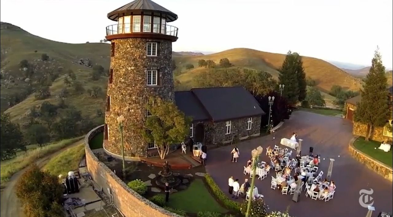 Drones used to capture birds-eye views of wedding ceremonies