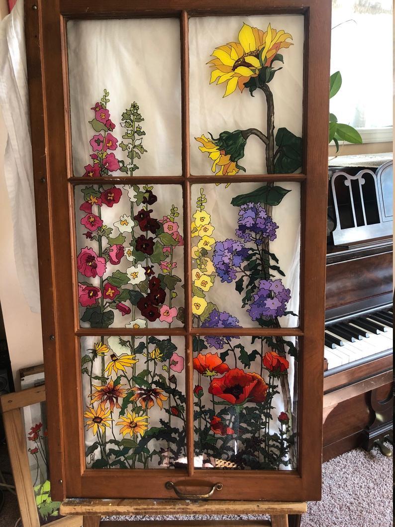Sold Painted Vintage Window   Grandma's Garden   Painted window ...